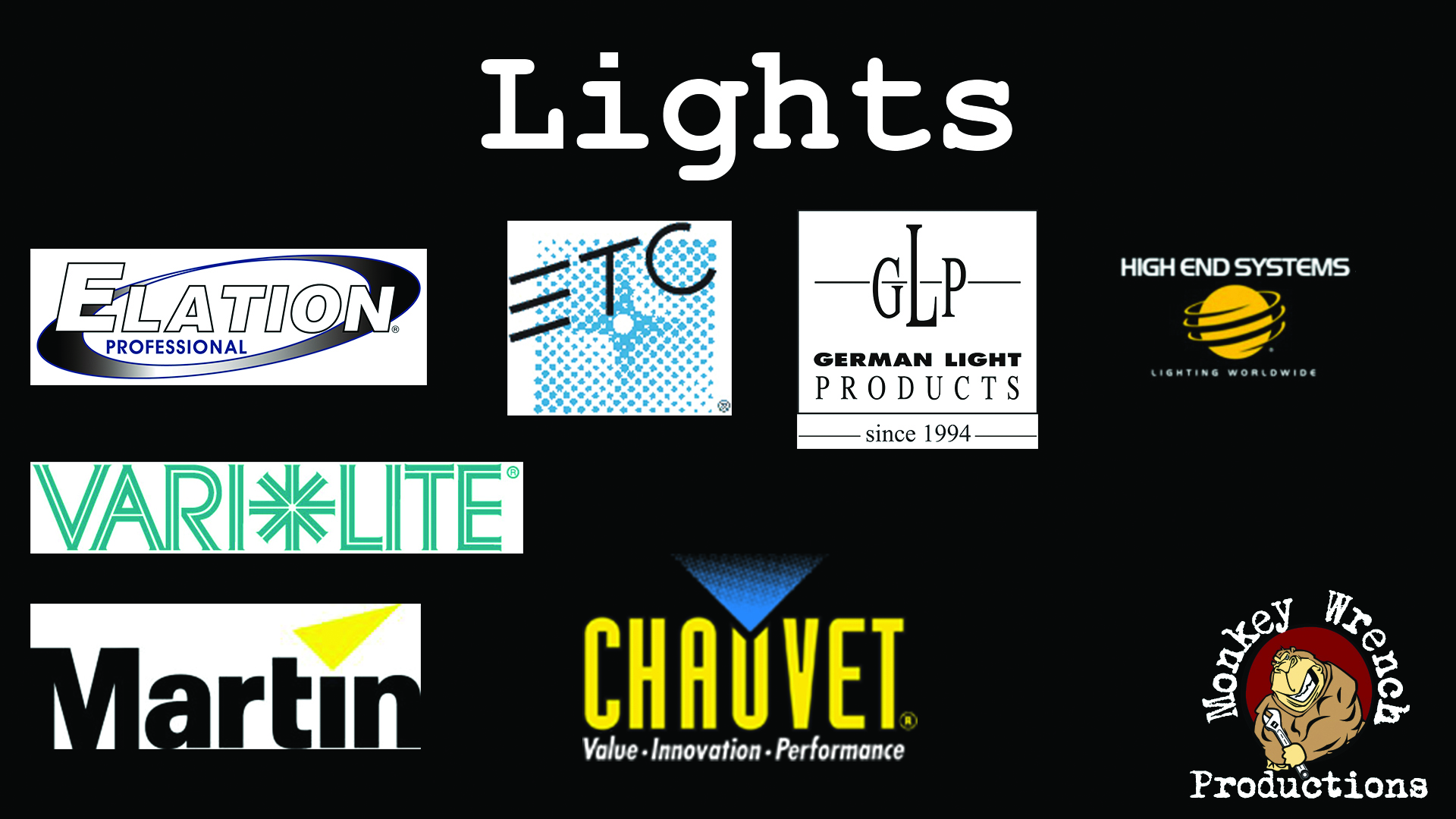 Light manufactuers carried