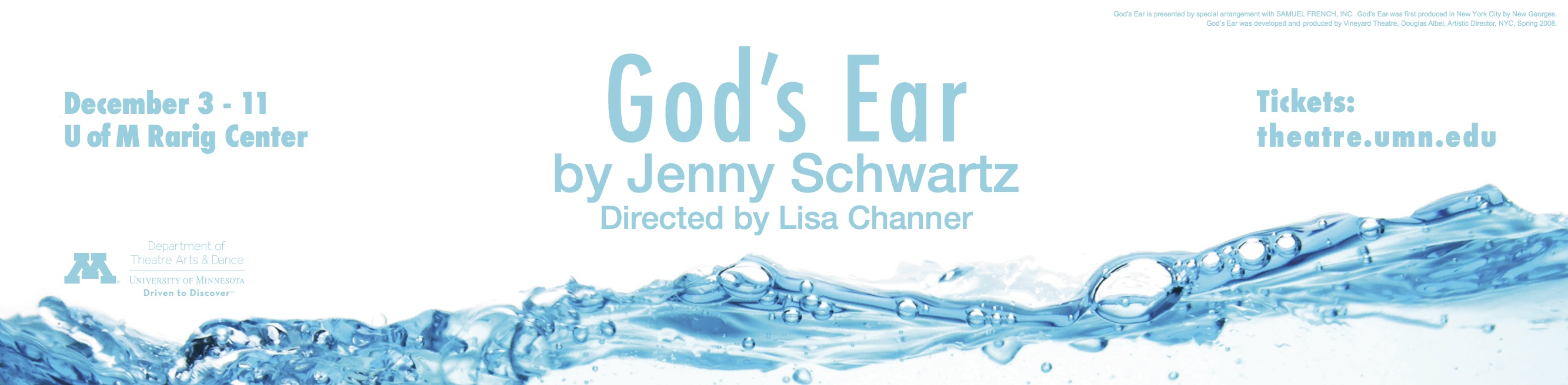 University of Minnesota Theatre Arts & Dance Presents: God's Ear December 3rd through 12th!