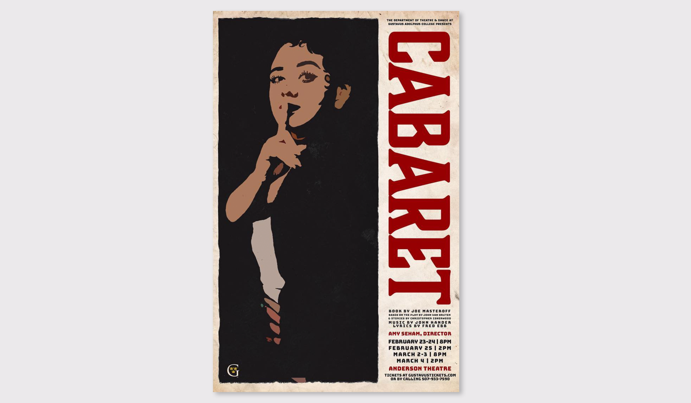 Poster for Gustavus Adolphus College's production of Cabaret