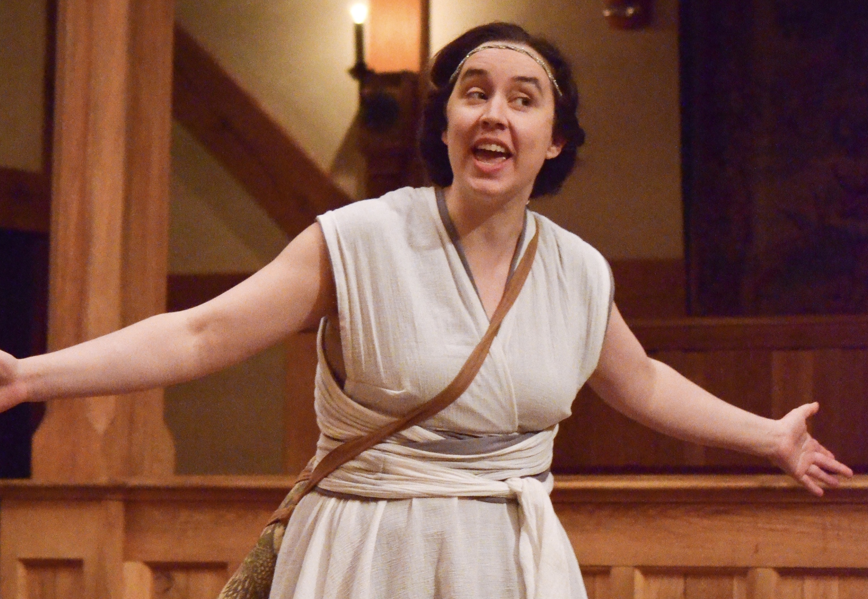 Clare Boyd as Gower/Diana in Pericles with The Motley Shakespeare Players at the American Shakespeare Center