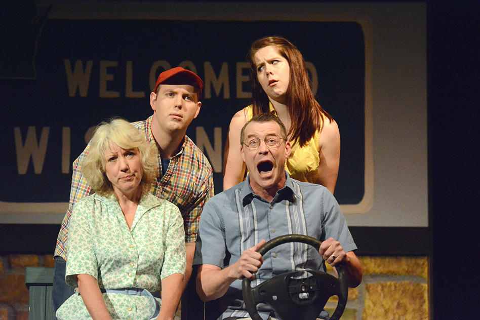 With Brett Lawlor (back row), Bettie Battocletti and Michael Lee in Leaving Iowa at Paul Bunyan Playhouse