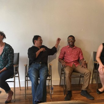 Nelson, Shiomi, Pullam, and Iverson at Continuing the Conversation hosted by Twin Cities Theatre Bloggers