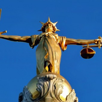 Idealized Lady Justice on Old Bailey in London