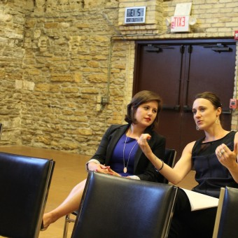 "Fundraiser Krystal Kohler (left), discusses a workshop of the new opera ""Memory Boy"" with colleague Danielle Ricci at the Minnesota Opera Center. Kohler is the organization's individual gifts manager and an actor in the Twin Cities."