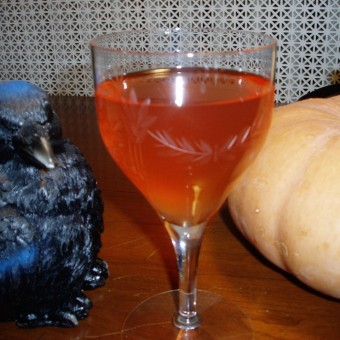 The Scream Cocktail with decorative rooster