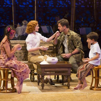 Louisa Darr (Ngana), Erin Mackey (Ensign Nellie Forbush), Edward Staudenmayer (Emile de Becque) and Sander L. Huynh-Weiss (Jerome) in the Guthrie Theater's production of South Pacific, music by Richard Rodgers, lyrics by Oscar Hammerstein II