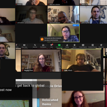 Red Eye Theater co-artistic directors over video conference