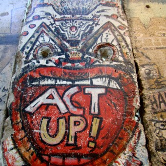 A section of the Berlin Wall with Graffiti regarding Act Up. Taken at the Newseum in DC.
