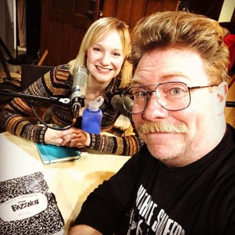 """Jane Froiland and Sam Landman, recording Episode 1 of Season 2 of """"The Bazzness"""""""