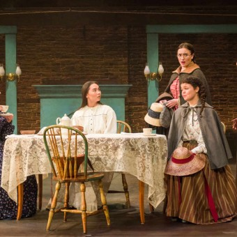 L-R: Marmee (Christina Baldwin),Beth March (Isabella Star LaBlanc),Meg March (Christine Weber), [seated] Amy March (Megan Burns)and Jo March (C. Michael Menge)