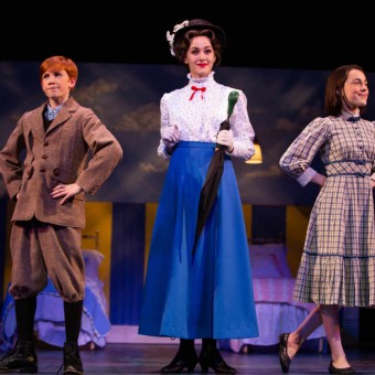 Josh Bagley (Michael Banks), Becca Hart (Mary Poppins) and Kate Regan (Jane Banks)