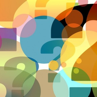 many question marks of various colors