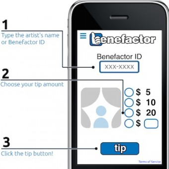 A screen shot of the Benefactor App