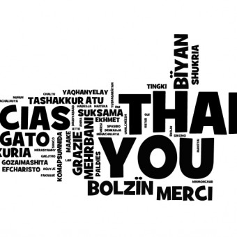 A word graphic of Thank you in many languages