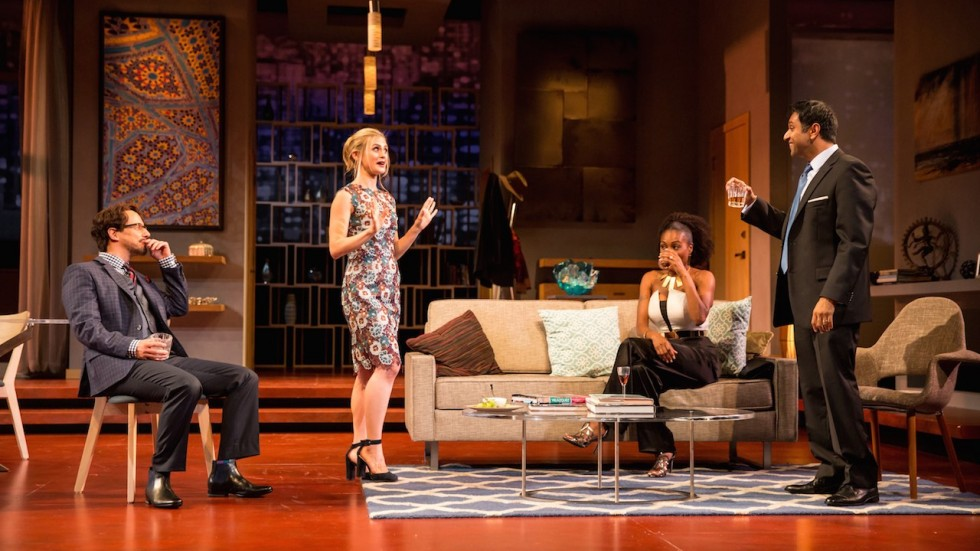 Kevin Isola (Isaac), Caroline Kaplan (Emily), Austene Van (Jory) and Bhavesh Patel (Amir) in the Guthrie Theater's production of Disgraced, directed by Marcela Lorca and written by Ayad Akhtar. Photo: Dan Norman