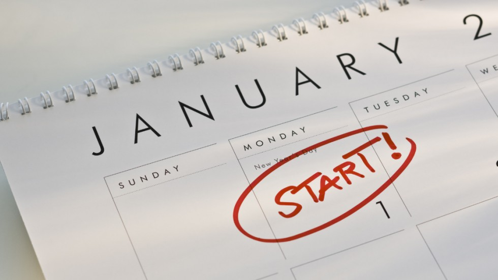 Calendar showing Jan 1 with a big red START on it
