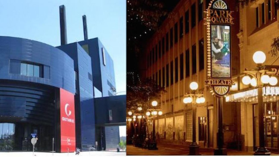 Guthrie Theater and Park Square Theatre on either side of river