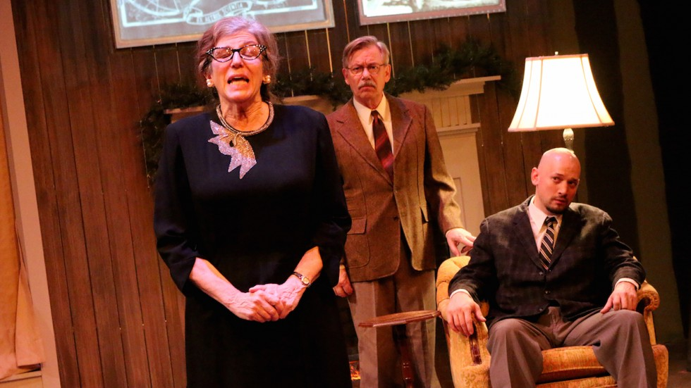 Meri Golden, Richard Choate and Jeremy D. Stanbary in Open Window Theatre's The Potting Shed. Photo: Matt Berdahl Photography.
