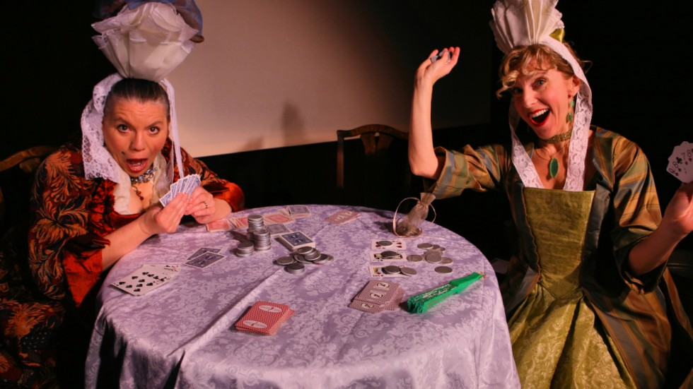 Pictured: Jody Bee playing Mrs. Sago and Julie Ann Greif playing Lady Reveller. 