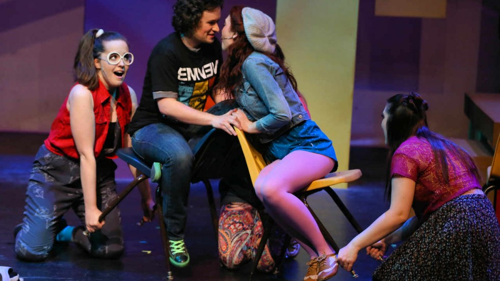 L to R: Maggie Mae Sulentic (Jenna), Maxwell Emmett Ward (Jeremy), Caitlin Featherstone (Christine), Alexis Larson (Chloe) in MMT's Be More Chill