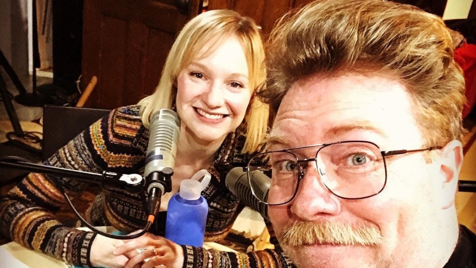 "Jane Froiland and Sam Landman, recording Episode 1 of Season 2 of ""The Bazzness"""