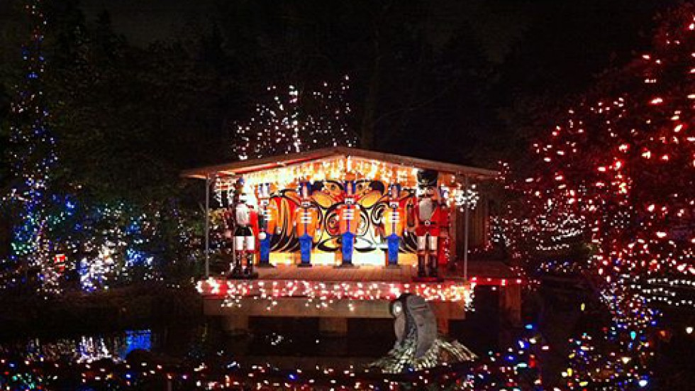 Holiday lights on stage