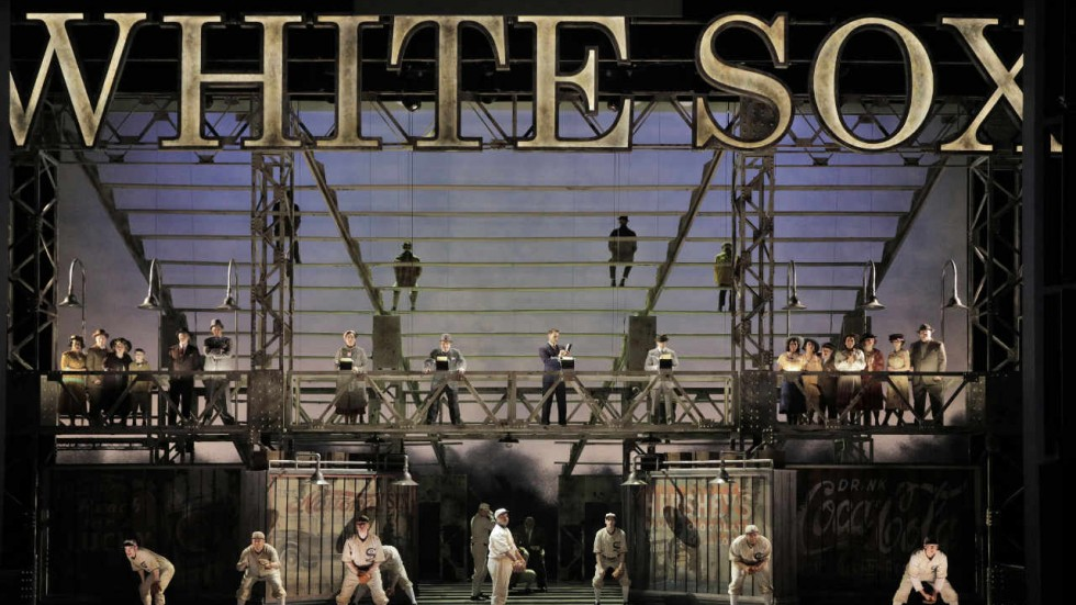 "Pictured: Joshua Dennis as ""Shoeless"" Joe Jackson, the Chicago White Sox players and baseball reporters in MN Opera's world premiere of The Fix"