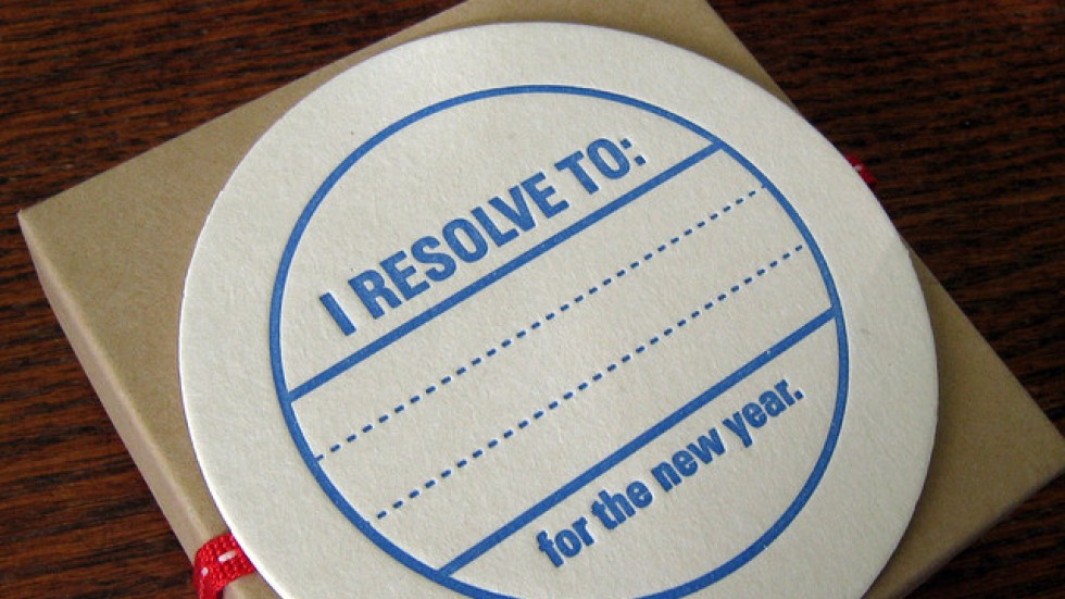 New Year's Resolutions on a coaster