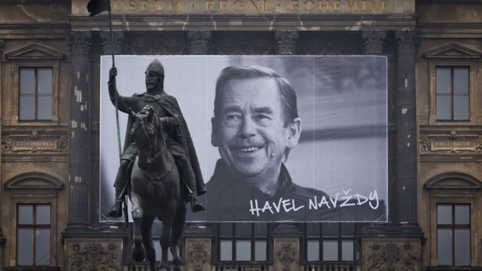Vaclav Havel and St. Wenceslas Statue